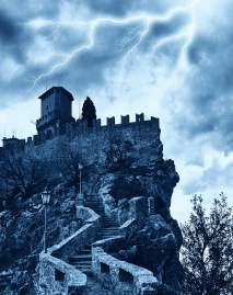 scary castle in a storm