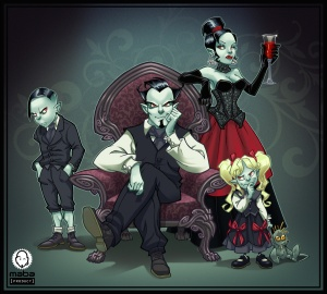 Vampire family portrait (illustration)