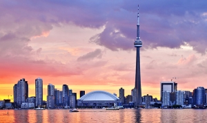Toronto sunset skyline with CN Tower