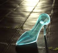 glass slipper on the ground